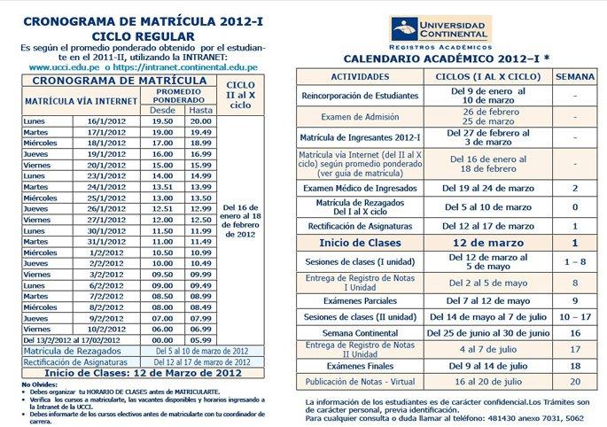 Matricula 2012 - I