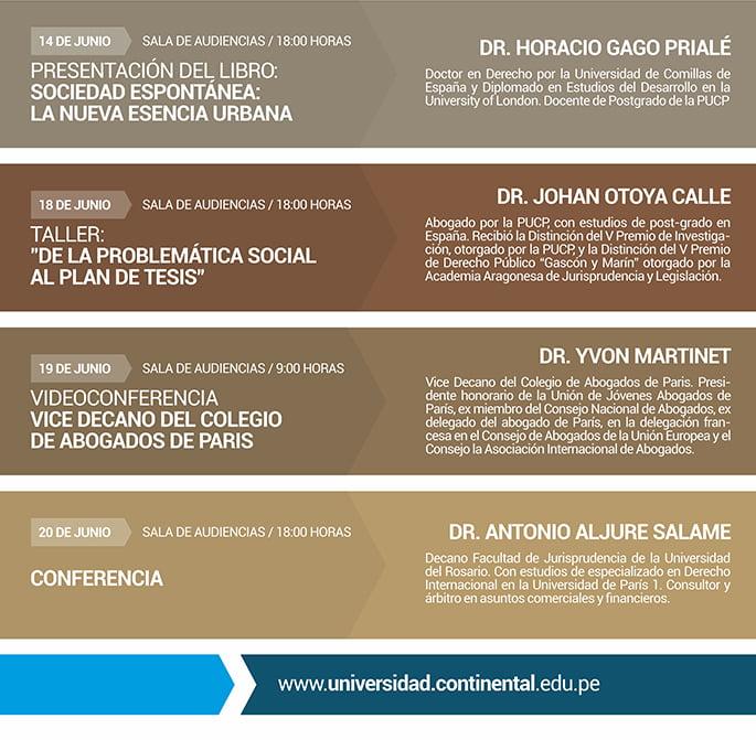 eventos de derecho universidad continertal junio horarios