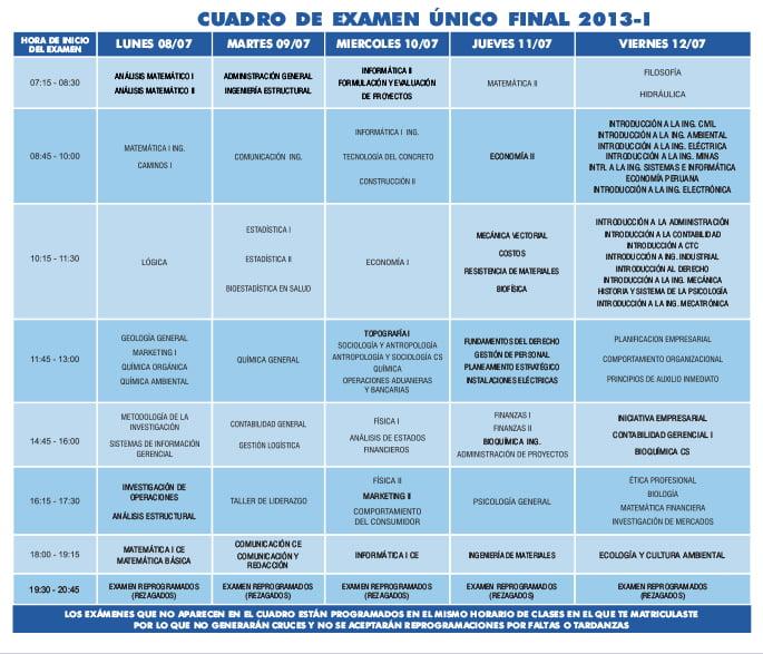cuadro de examenes 2013 - 1