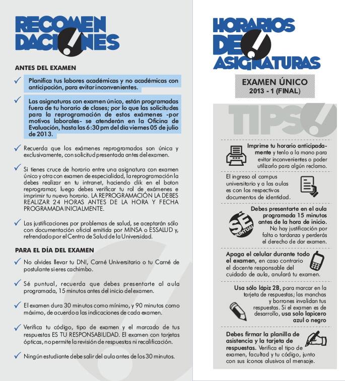recomendaciones examenes 2013 - 1