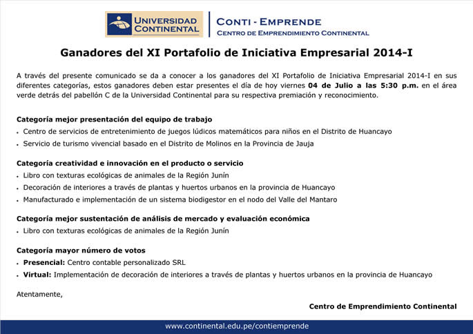 Ganadores del XI Portafolio de Iniciativas Empresariales 2014-I
