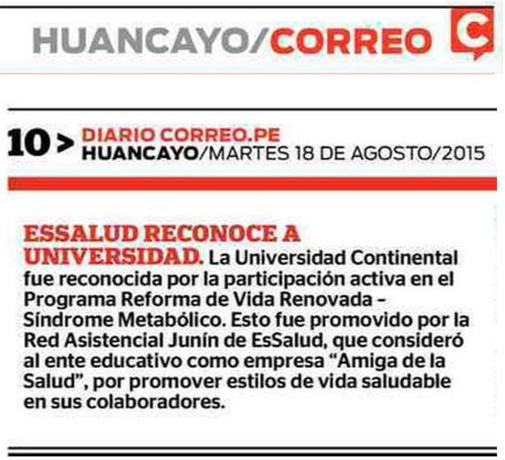 18 AGOSTO - CORREO - ESSALUD RECONOCE A UNIVERSIDAD