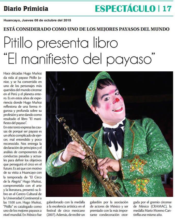 08 OCT- PRIMICIA -Pitillo presenta libro