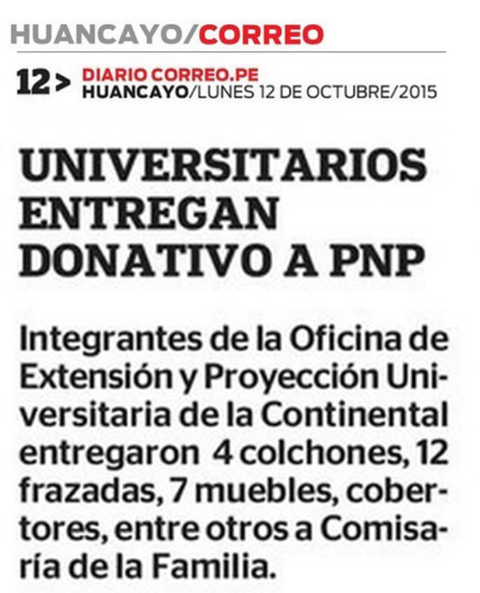 12 OCT - Universitarios entregan donativo a PNP