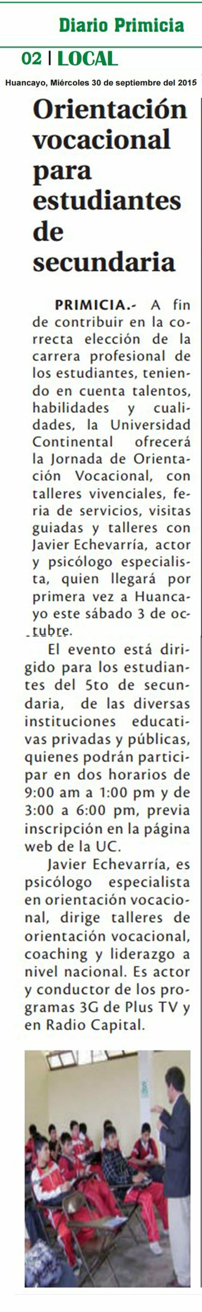 30 SET- CORREO-  ORIENTACION VOCACIONAL PARA ESTUDIANTES DE SECUNDARIA 1