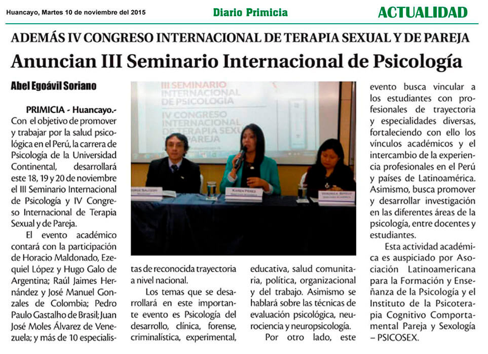 DIARIO PRIMICIA - SEMINARIO DE PSICOLOGIA Y CONGRESO