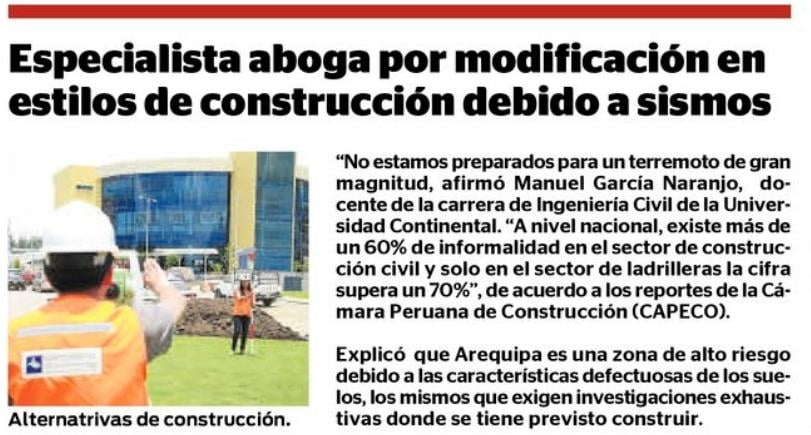 Especialista aboga por modificación en estilos de construcción debido a sismos