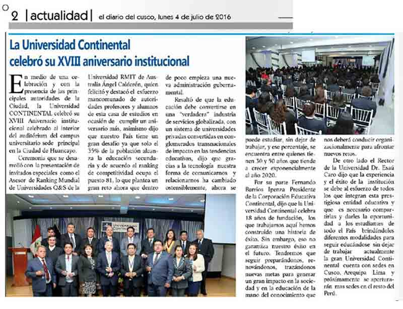 la-universidad-continental-celebro-su-xviii-aniversario-institucional