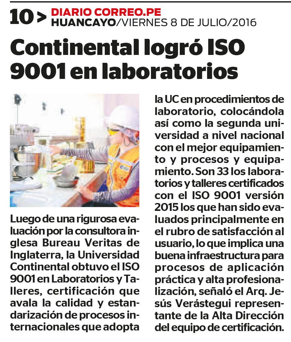 Universidad Continental se convierte en la primera institución en lograr ISO 9001-2015.