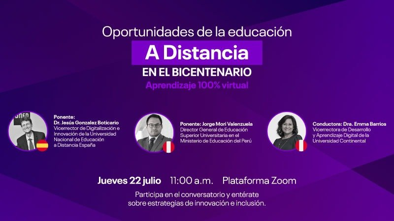 Oportunidades de la Educación a distancia en el Bicentenario aprendizaje 100% virtual