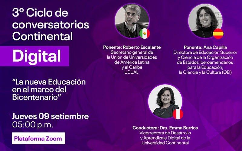 Continental Digital abordará la nueva educación en el marco del Bicentenario (post pandemia)